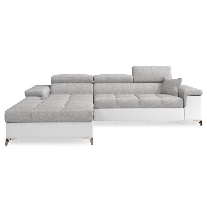 Canapé d'angle convertible design RICARDO - Angle du canapé - Gauche, Couleurs - Tissu gris clair/ PU blanc