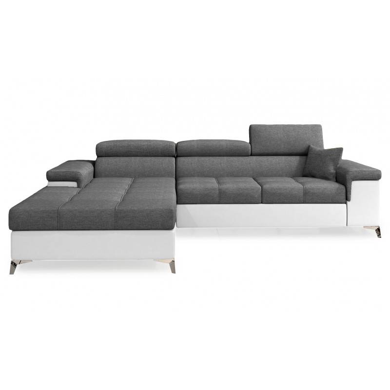 Canapé d'angle convertible design RICARDO - Angle du canapé - Droit, Couleurs - Tissu gris foncé / PU blanc