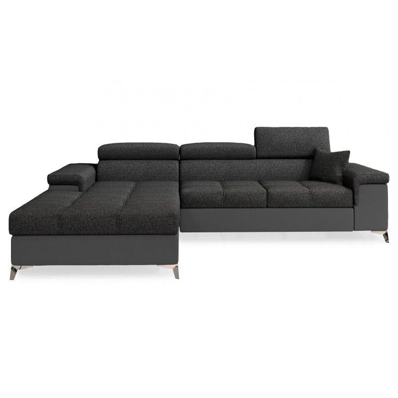 Canapé d'angle convertible design RICARDO - Angle du canapé - Gauche, Couleurs - Tissu gris / PU gris