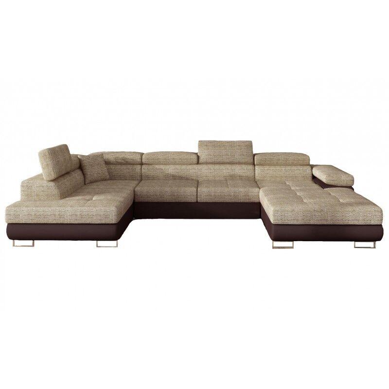 Canapé Design Convertible Panoramique U Rodrigo - Angle du canapé - Gauche, Couleurs - Tissu tabac / PU marron