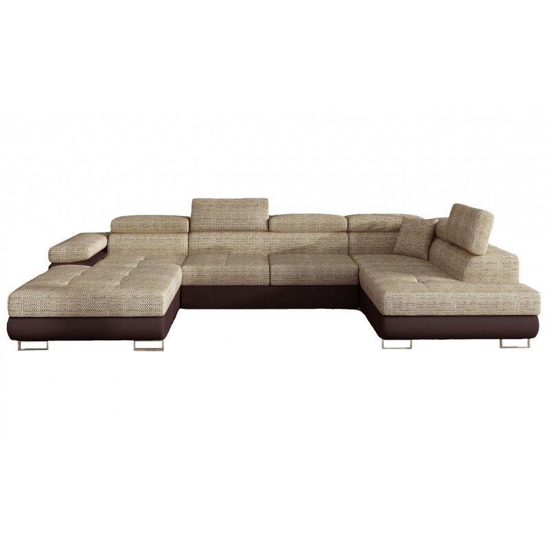 Canapé Design Convertible Panoramique U Rodrigo - Angle du canapé - Droit, Couleurs - Tissu tabac / PU marron