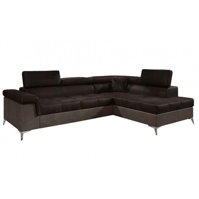 Canapé d'angle convertible design Eridano - Angle du canapé - Droit, Couleurs - PU Marron Foncé / Marron Clair