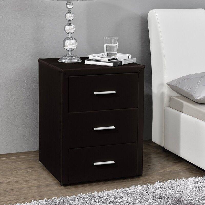 Table chevet 3 tiroirs Kasi - Couleurs - Noir