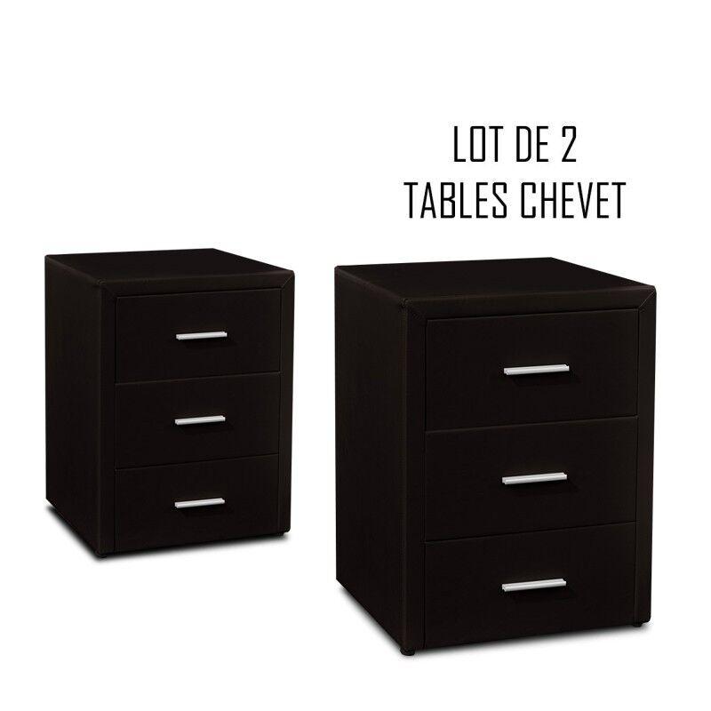 Table chevet 3 tiroirs Kasi Lot de 2 noir
