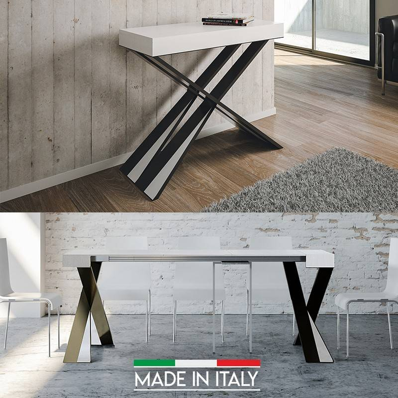 Table Console extensible Diago - Couleurs - Frêne blanc, Nombre d'extensions - 3 Rallonges