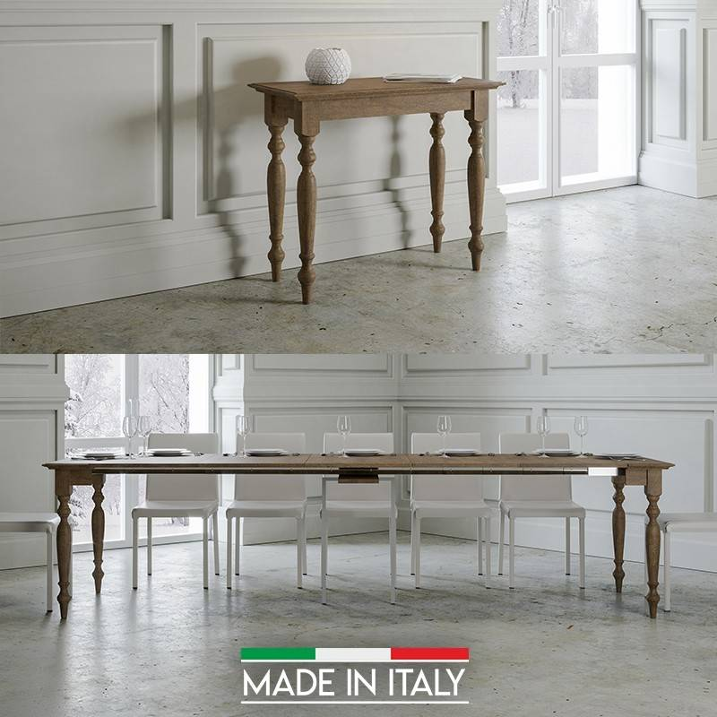 Table Console extensible Bologna - Couleurs - Noyer Antique, Nombre d'extensions - 5 Rallonges