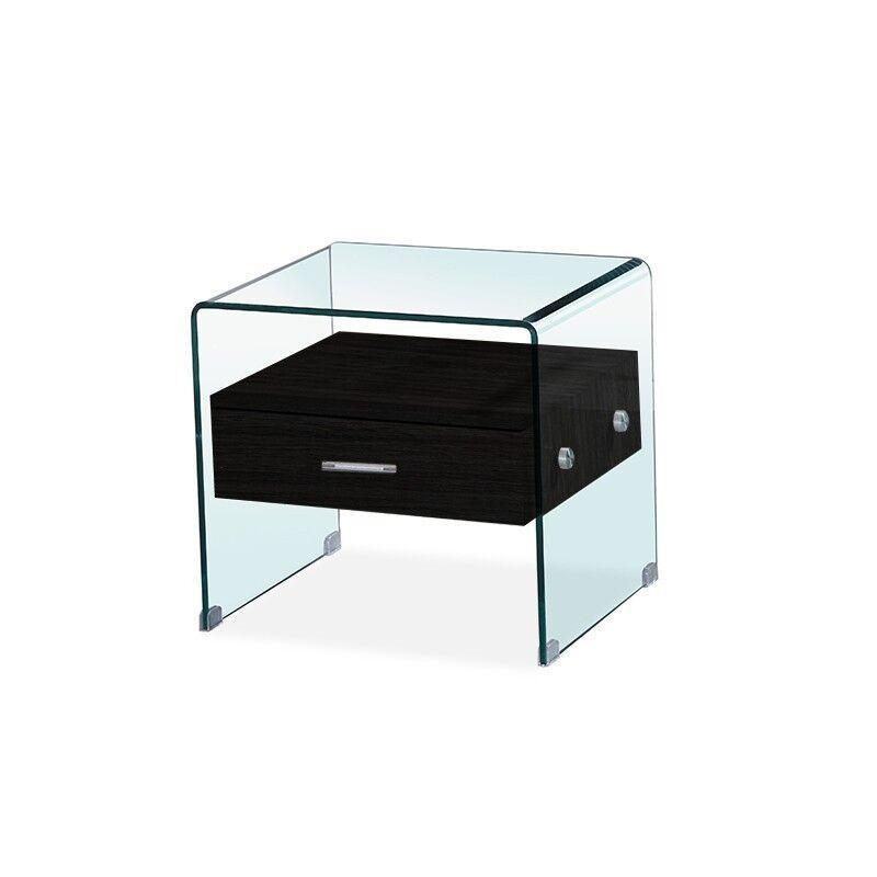 Table de chevet en verre ELSA - Couleurs - Noir