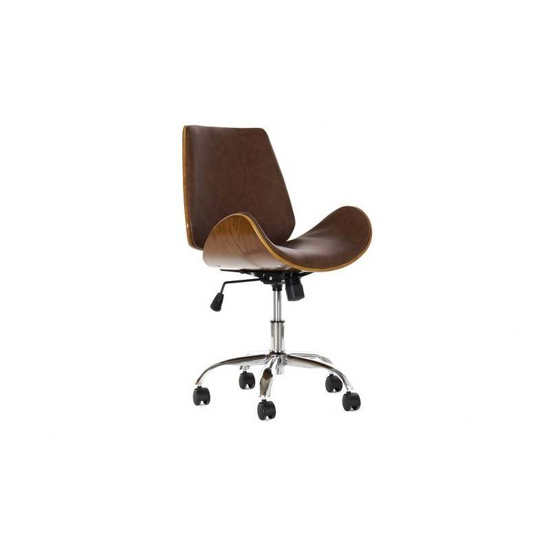 Chaise de bureau bois noyer est simili cuir BALI - Couleurs - Marron
