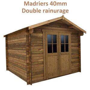 Gardy Shelter Abri de jardin 9m² PLUS en bois 40mm traité teinté marron Gardy Shelter - Publicité