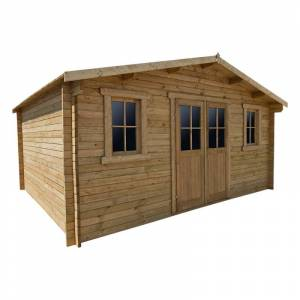 Gardy Shelter Abri en bois massif 19,8m² PLUS 28mm traité teinté marron Gardy Shelter - Publicité