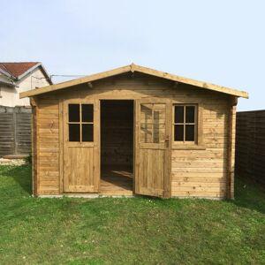 Gardy Shelter Abri en bois massif 12m² PLUS 28mm traité teinté marron Gardy Shelter - Publicité