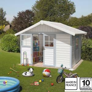 Grosfillex Abri de jardin en PVC 7,5m² DECO blanc et gris bleu Grosfillex + kit ancrage offert - Publicité