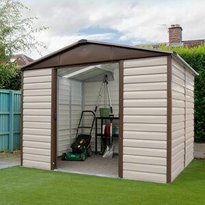 Yardmaster Abri de jardin métal beige et marron 4,79m² + kit d'ancrage inclus - YARDMASTER - Publicité