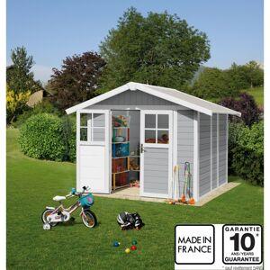 Grosfillex Abri de jardin en PVC 4,9m² DECO gris clair et blanc Grosfillex + kit ancrage offert - Publicité