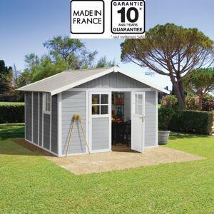 Grosfillex Abri de jardin en PVC 11,2m² DECO gris clair et blanc Grosfillex + Kit ancrage offert - Publicité