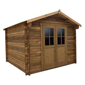 Gardy Shelter Abri en bois massif 9m² PLUS 28mm traité teinté marron Gardy Shelter - Publicité