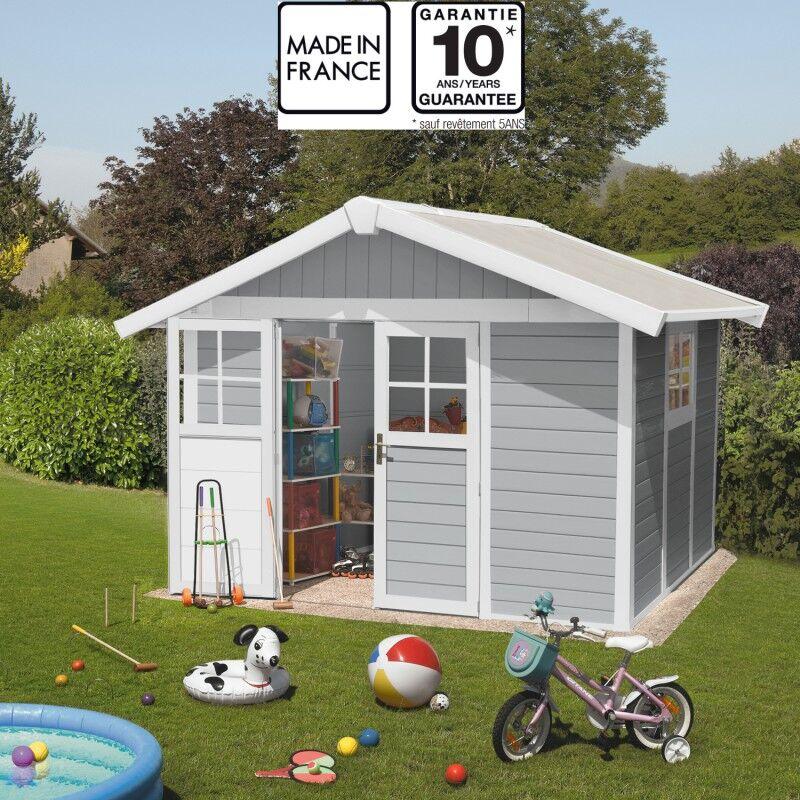 Grosfillex Abri de jardin en PVC 7,5m² DECO gris clair et blanc Grosfillex + kit ancrage offert