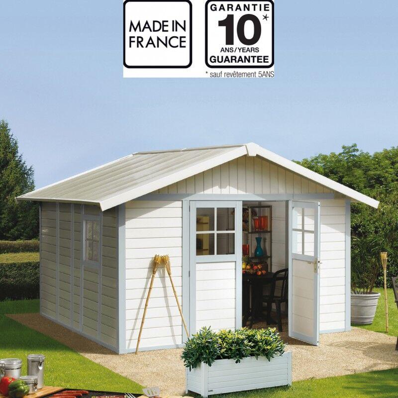 Grosfillex Abri de jardin en PVC 11,2m² DECO blanc et gris bleu Grosfillex + kit ancrage offert