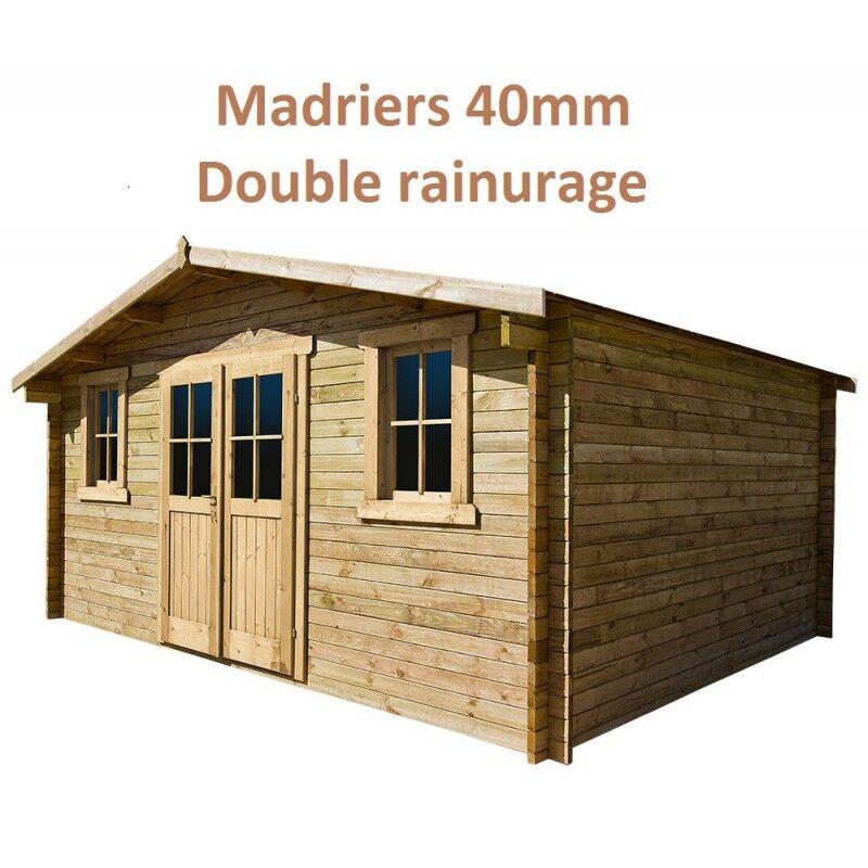 Gardy Shelter Abri de jardin 16m² PLUS en bois 40mm traité teinté marron Gardy Shelter