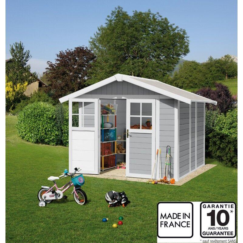 Grosfillex Abri de jardin en PVC 4,9m² DECO gris clair et blanc Grosfillex + kit ancrage offert