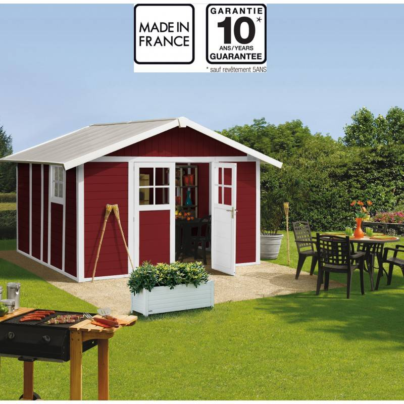 Grosfillex Abri de jardin en PVC 11,2m² DECO rouge et blanc Grosfillex + kit ancrage offert