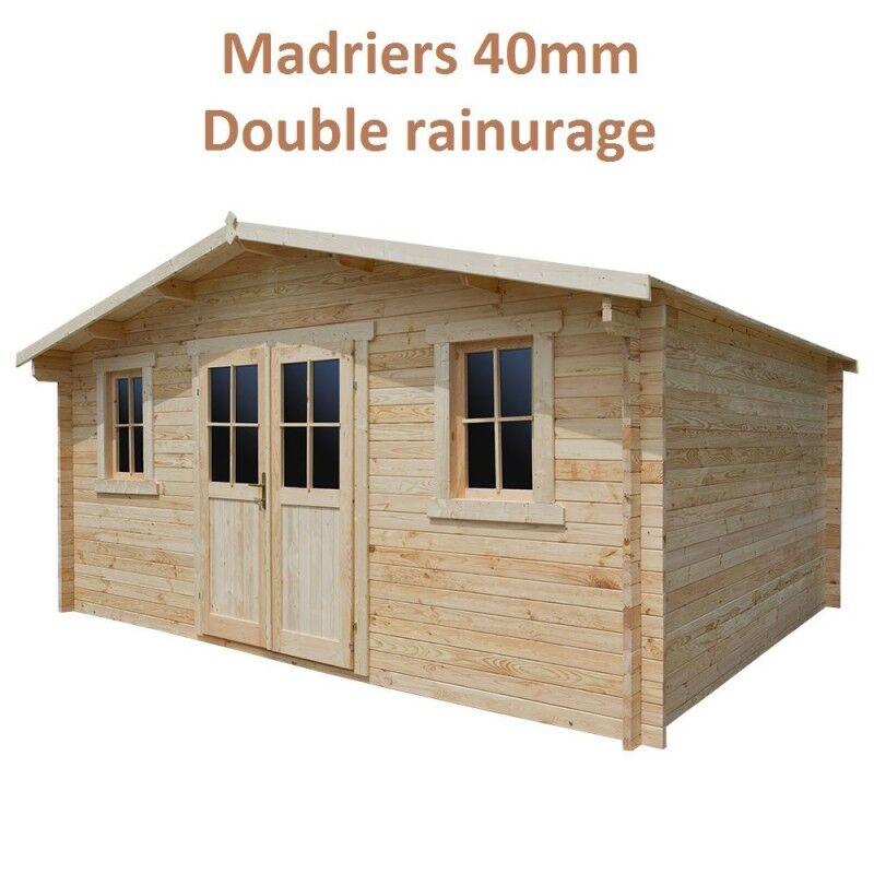 Gardy Shelter Abri de jardin 16m² PLUS en bois 40mm brut Gardy Shelter