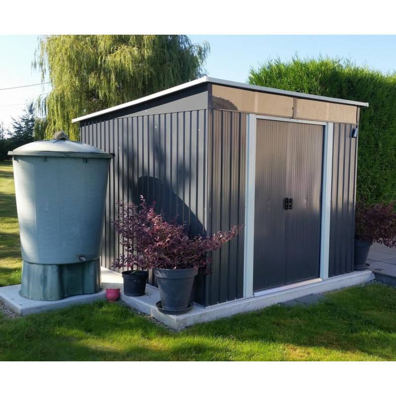 X-Metal Abri de jardin métal 6,67m² Skylight anthracite + kit d'ancrage X-METAL