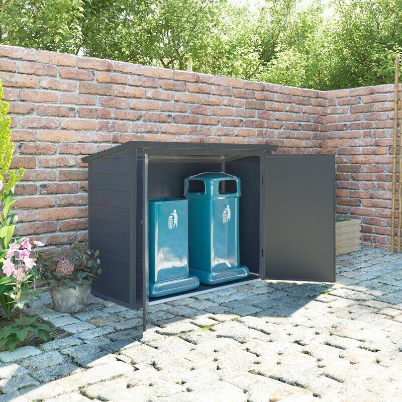 Jôbu Coffre de jardin en résine - cache poubelles anthracite 1,79m² JOBU