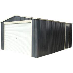 X-Metal Garage métal anthracite 17,31m² porte enroulable + kit d'ancrage X-METAL - Publicité