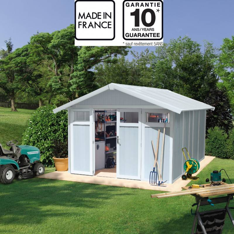 Grosfillex Abri de jardin en PVC 11,2m² UTILITY blanc et gris bleu Grosfillex + kit ancrage offert