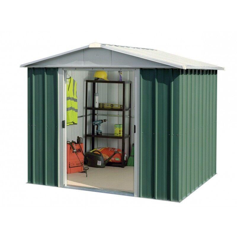 Yardmaster Abri de jardin métal vert 5,25m² + kit d'ancrage inclus - YARDMASTER