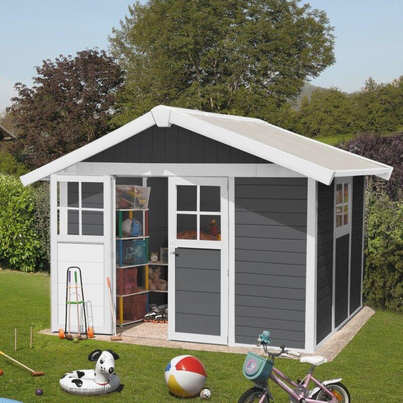 Grosfillex Abri de jardin en PVC 7,5m² DECO gris foncé et blanc Grosfillex + kit ancrage offert