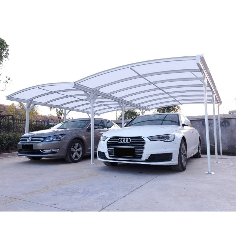 X-Metal Carport double en aluminium laqué blanc et polycarbonate 6mm X-METAL