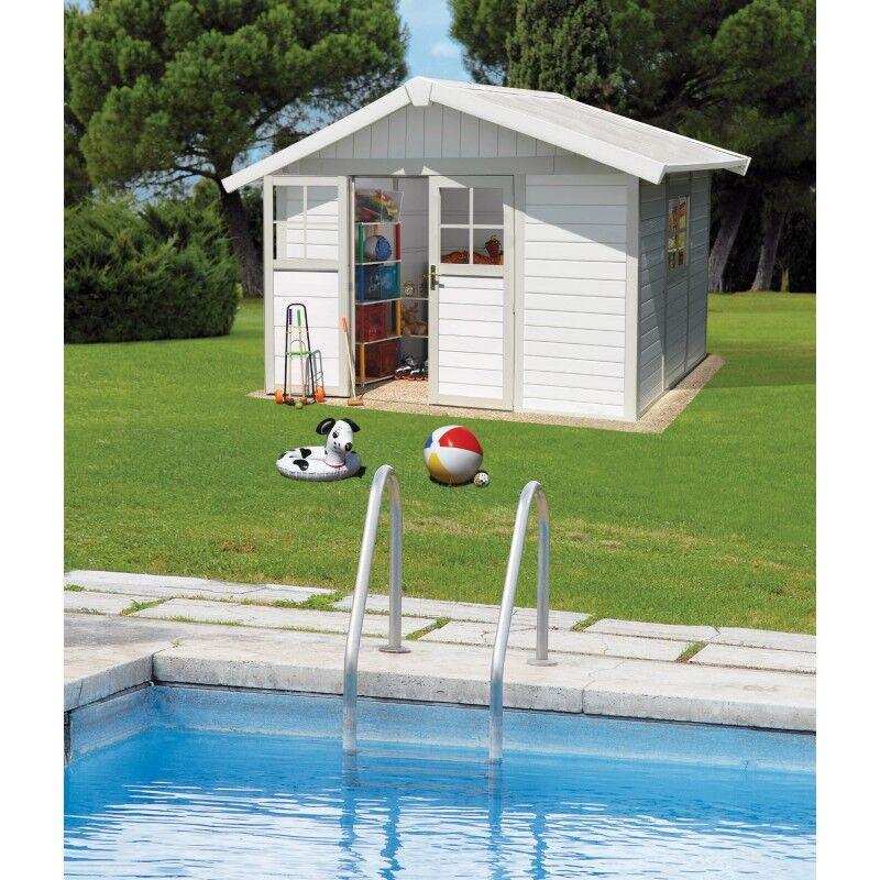 Grosfillex Abri de jardin en PVC 7,5m² DECO blanc et gris vert Grosfillex + kit ancrage offert