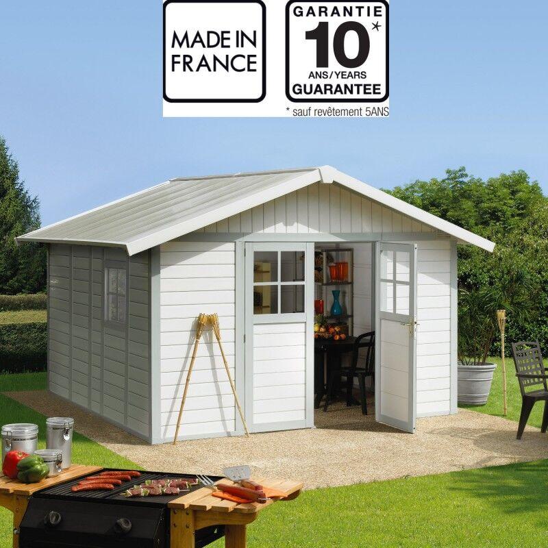 Grosfillex Abri de jardin en PVC 11,2m² DECO blanc et gris vert Grosfillex + kit ancrage offert