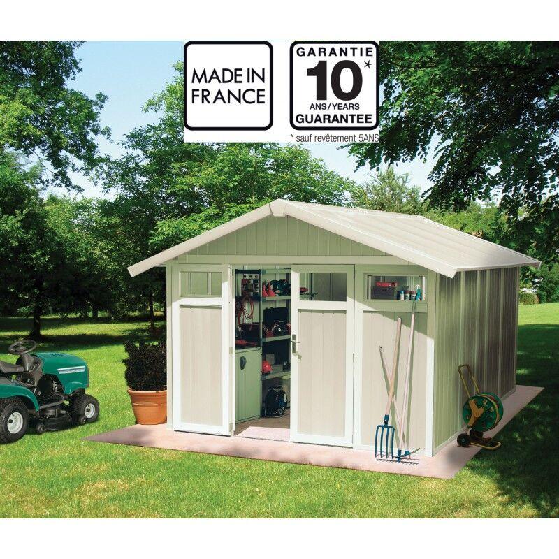 Grosfillex Abri de jardin en PVC 11,2m² UTILITY blanc et gris vert Grosfillex + kit ancrage offert
