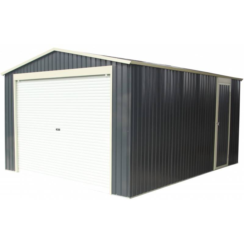 X-Metal Garage métal anthracite 19,52m² porte enroulable + kit d'ancrage X-METAL