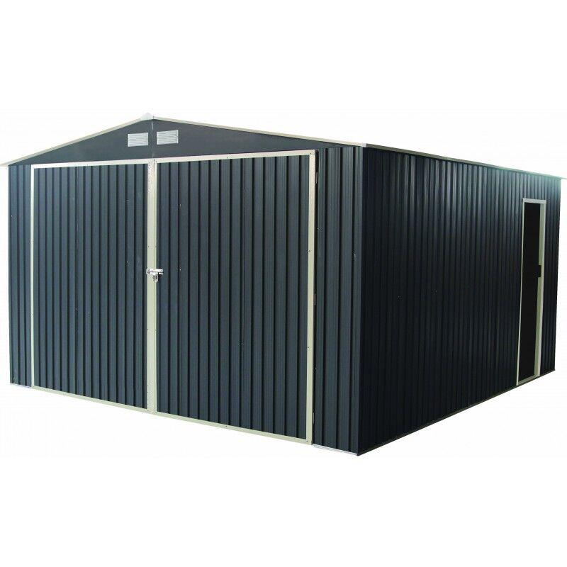 X-Metal Garage métal anthracite double portes 19,61m² + kit d'ancrage X-METAL