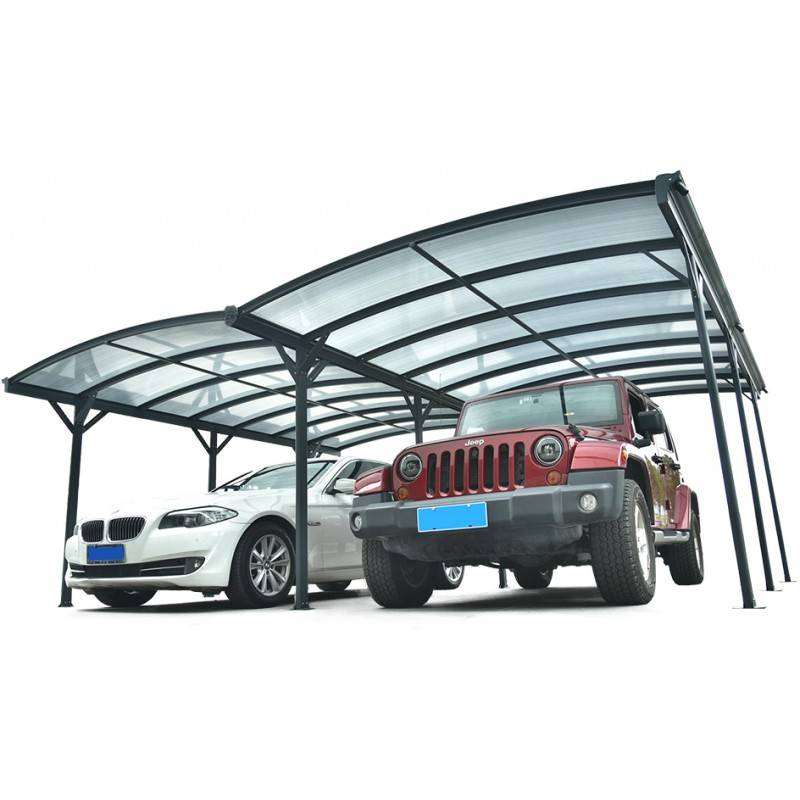 X-Metal Carport double en aluminium anthracite et polycarbonate 6mm X-METAL