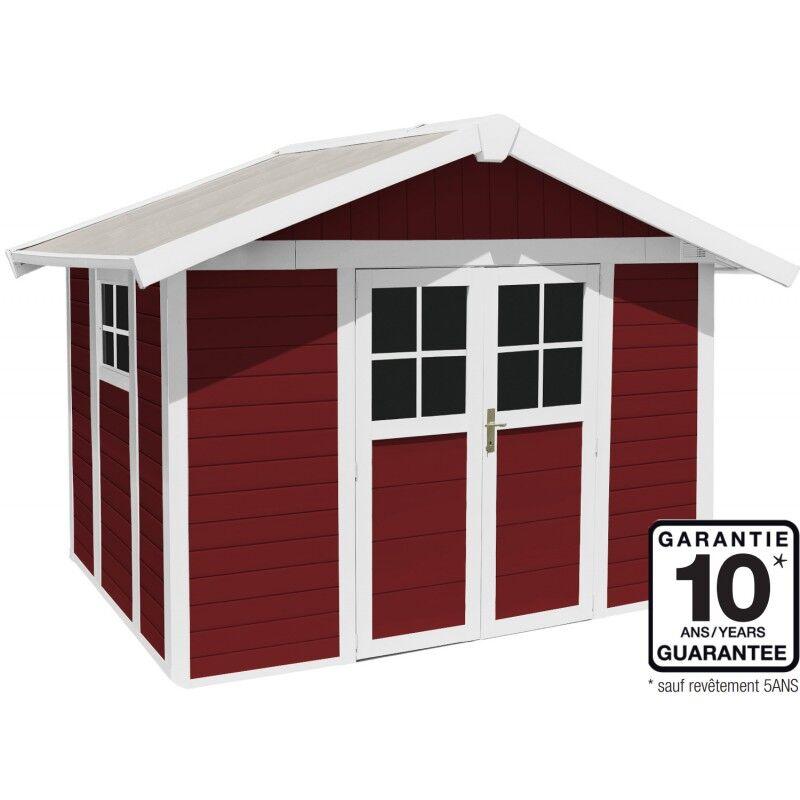 Grosfillex Abri de jardin en PVC 7,5m² DECO rouge et blanc Grosfillex + kit ancrage offert