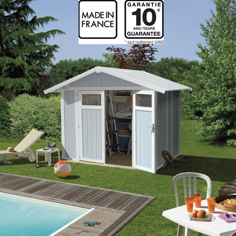 Grosfillex Abri de jardin en PVC 4,9m² UTILITY blanc et gris bleu Grosfillex + kit ancrage offert