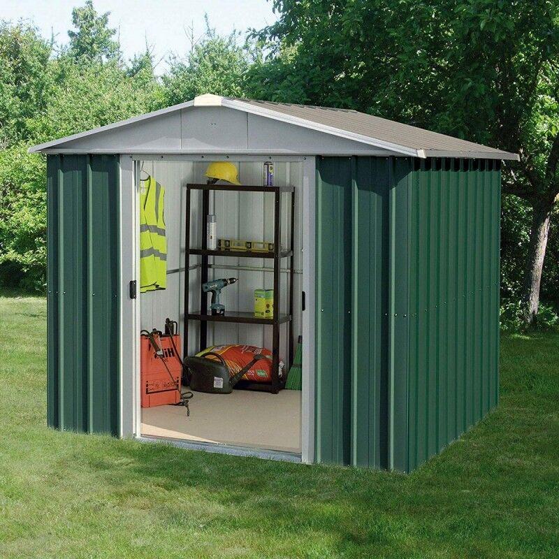 Yardmaster Abri de jardin métal vert 4,38m² + kit d'ancrage inclus - YARDMASTER