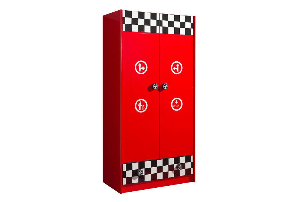 Vipack Armoire Enfant Penderie Racing Rouge 1,90 m – Monza