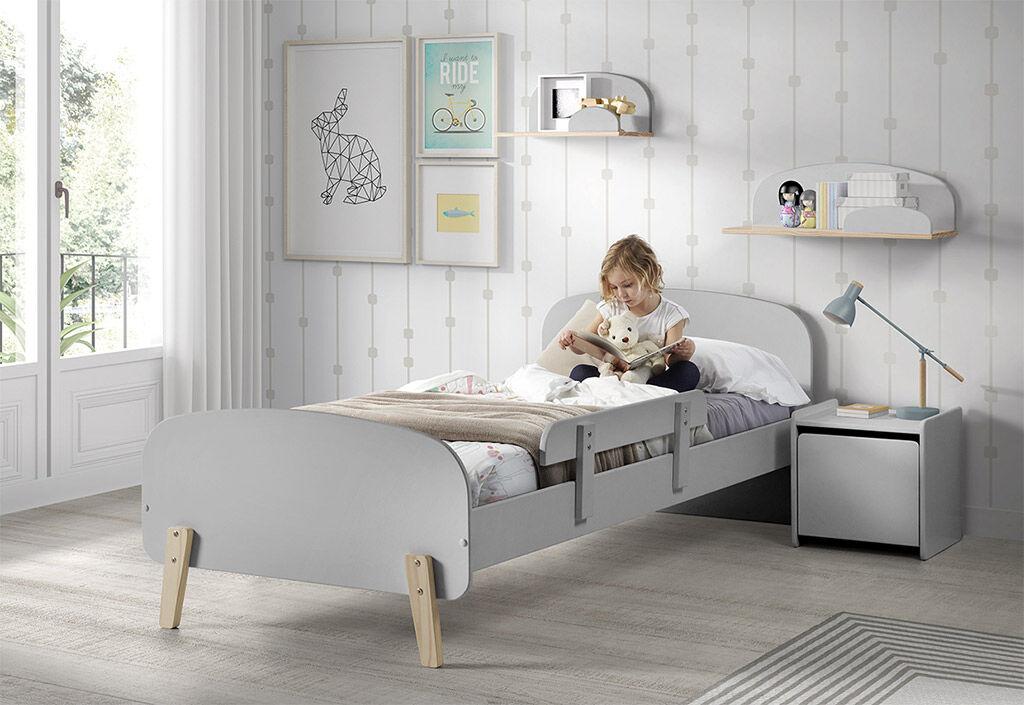 Vipack Chambre pour enfant grise en bois lit + chevet + coffre à jouet
