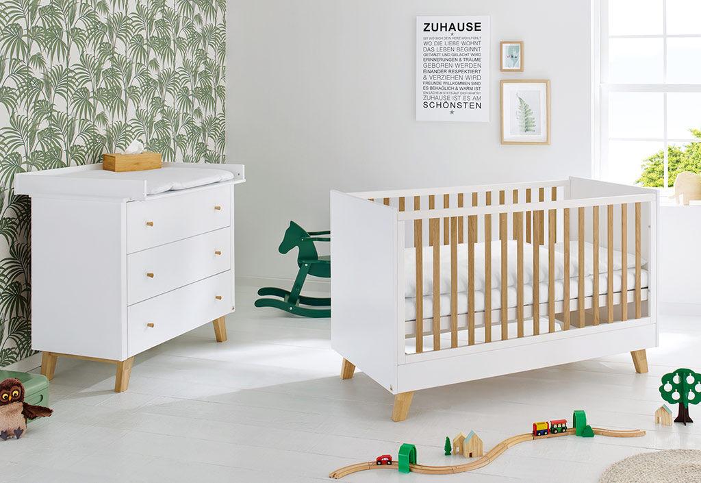 Pinolino Chambre en bois évolutive bébé enfant : lit, commode à langer – Pan