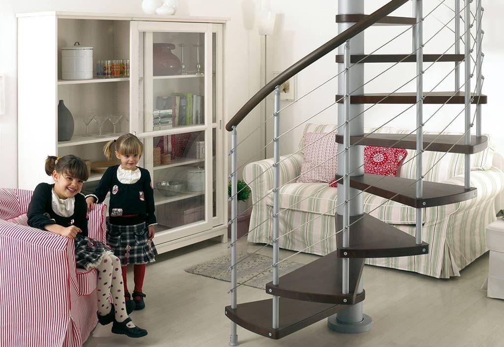 Fontanot Escalier en Colimaçon Kloe ∅ 120 cm Hêtre Foncé et Acier (pls coloris)