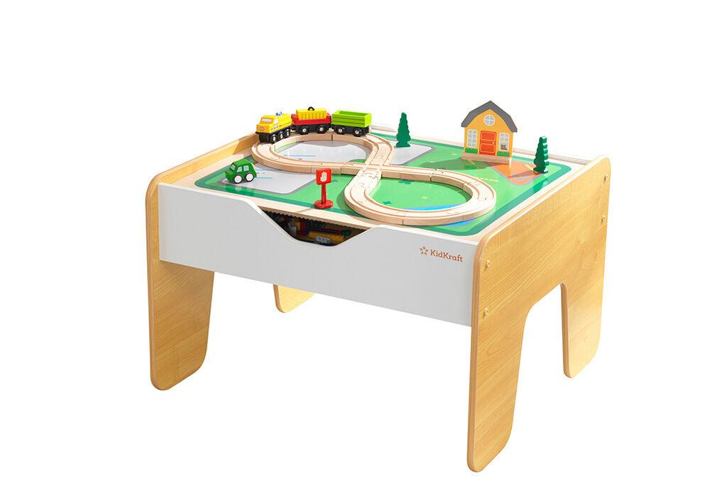 Kidkraft Table d'activité enfant : circuit train en bois et jeu de construction