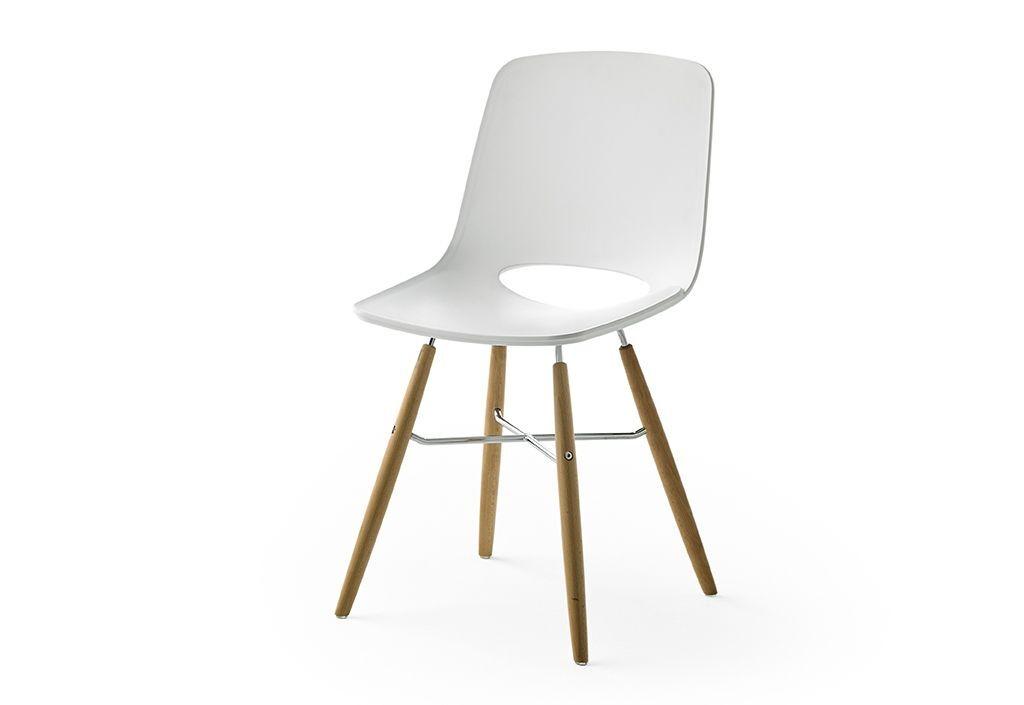 Meuble Maison Chaise Design en Bois Massif et PVC Blanc – Lot de 2