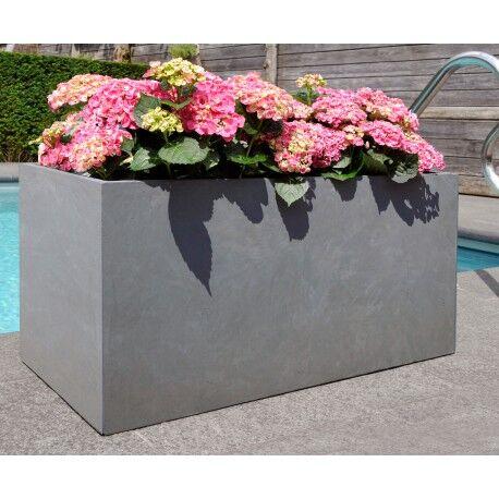Jardinière en fibre de terre 80x40xH.40cm gris ciment