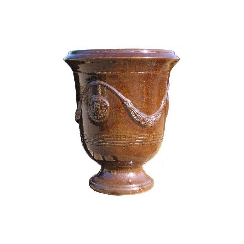 Terre Figuière Vase d'Anduze terre cuite émaillée Chocolat Terre Figuière - Taille - Taille 1 : Haut 35 x Diam 32cm